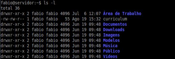 Comando ls -l no Linux