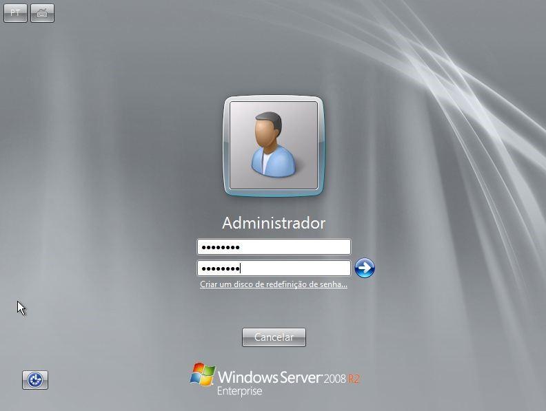 Configurando a senha do administrador do servidor