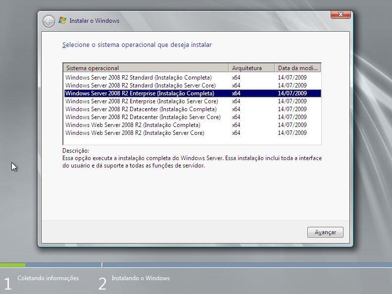 Escolher sistema - windows server 2008 R2