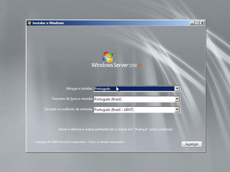 Instalador do Windows Server 2008 R2
