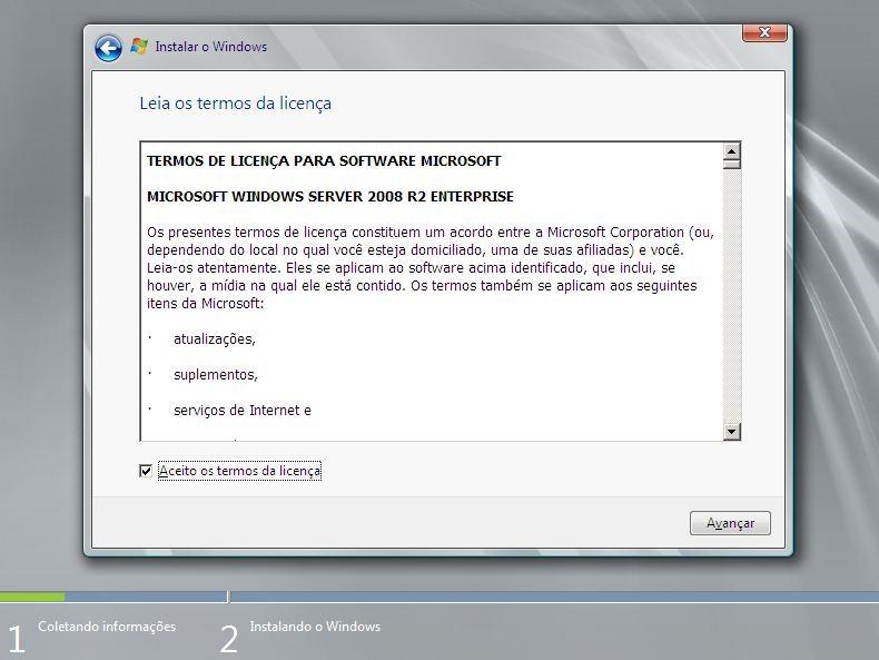 Acordo de Licença do Windows Server 2008 R2
