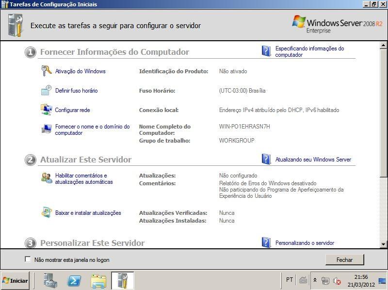 Tarefas de Configuração Iniciais no Windows Server 2008 R2