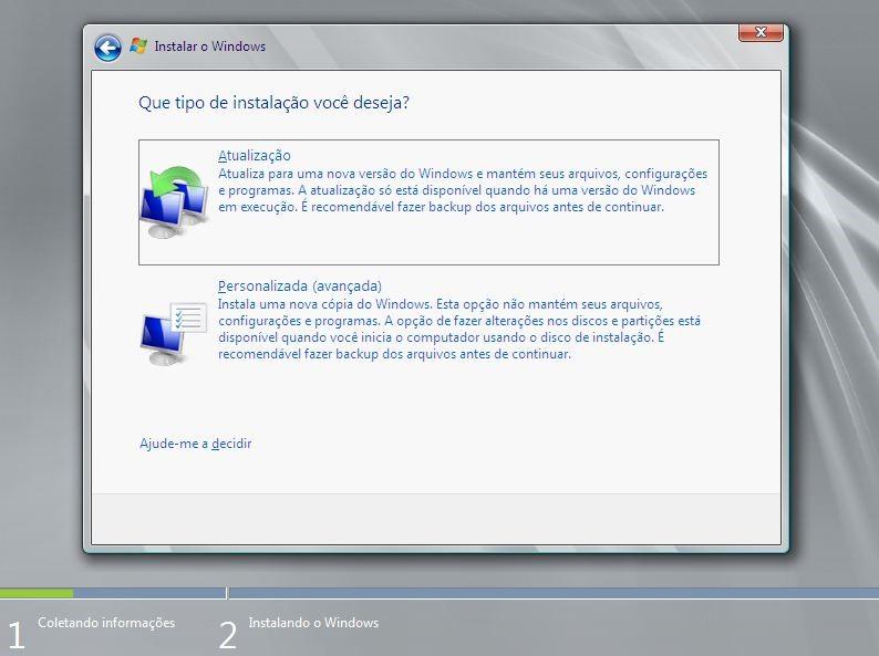 Tipo de Instalação do Windows Server 2012