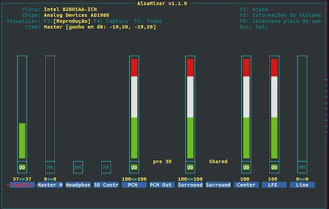 Pacote alsamixer - mixer de áudio para Linux
