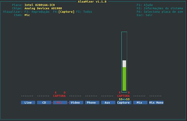 Instalar pacote alsamixer no Linux