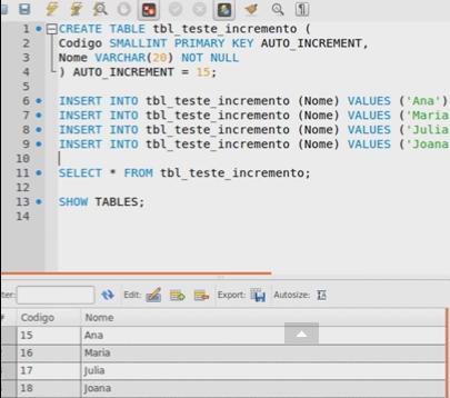 MySQL - Auto incremento em colunas