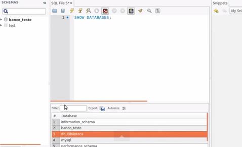 Verificando o banco de dados criado no MySQL