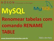 Renomear tabelas em MySQL com rename table
