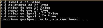 Operadores Relacionais em C#