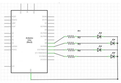 Esquema de ligação dos componentes no Arduino