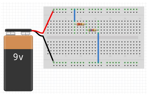 Circuito com resistores e bateria no fritzing