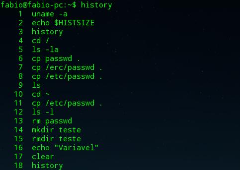 ver histórico de comandos no linux com comando history