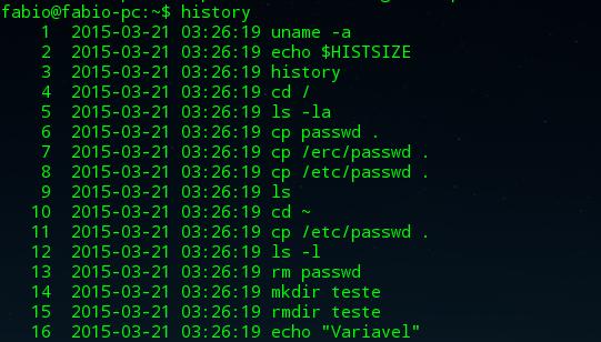 comando history no linux
