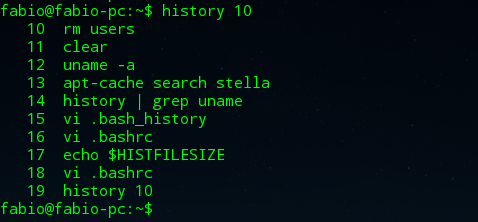 como aplicar o comando history no linux