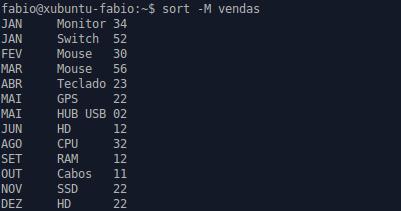 utilitário sort no Linux