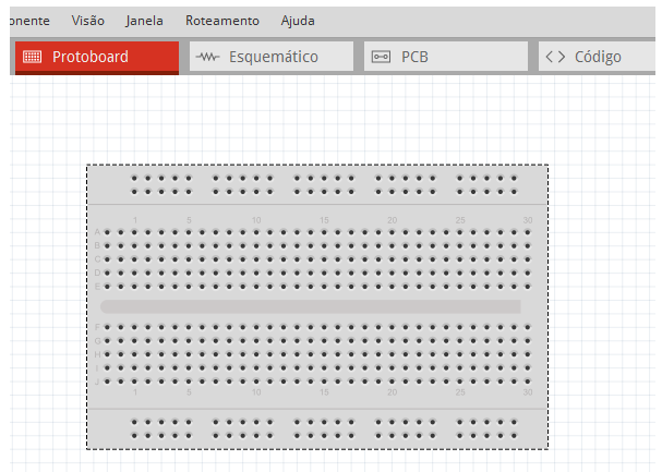 Matriz de Contatos no Modo Protoboard no Fritzing