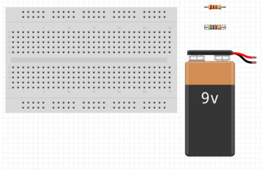 inserindo resistor e baterias no fritzing