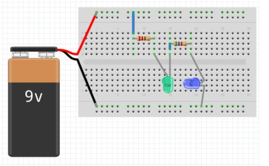 Visualização de dois LEDs no circuito do fritzing
