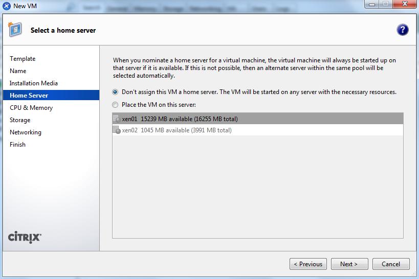 Criar VM no Pool do XenServer