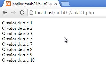 Curso de PHP - instrução continue no laço for