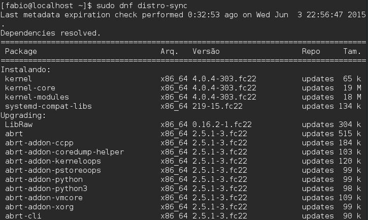 Gerenciador de Pacotes DNF - Fedora 22 - distro-sync
