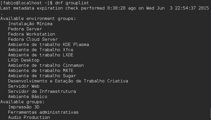 Gerenciador de Pacotes DNF grouplist - Fedora 22