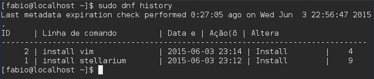 Gerenciador de Pacotes DNF history - Fedora 22
