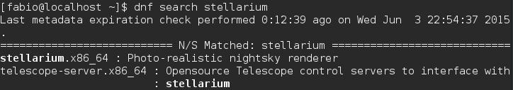 Gerenciador de Pacotes DNF - Stellarium Fedora