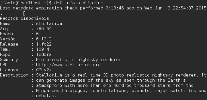 Gerenciador de Pacotes DNF Stellarium - Fedora 22