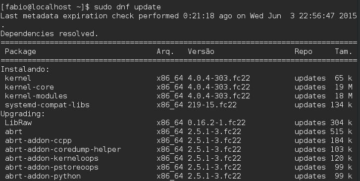 Gerenciador de Pacotes DNF - Fedora 22