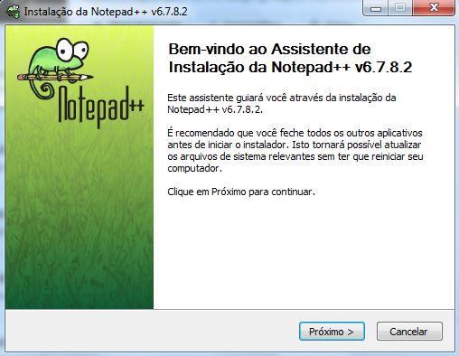 Instalação do editor de textos Notepad++