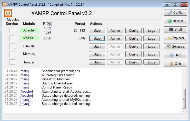 Curso de PHP - Painel de Controle do XAMPP