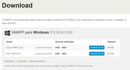 Curso de PHP - XAMPP - Download
