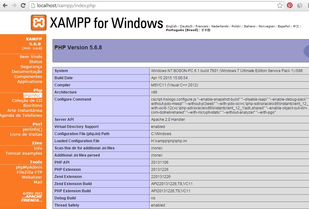 Curso de PHP - Testando o XAMPP - phpinfo()