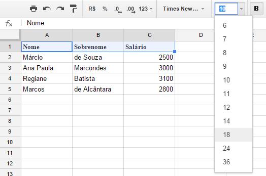 Google Spreadsheets - Alterando Tamanho da Fonte
