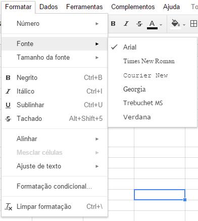 Planilha Google - Formatação de Fonte e Cores - Menu Formatar