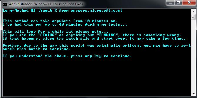 Rodando o script de reserva do Windows 10