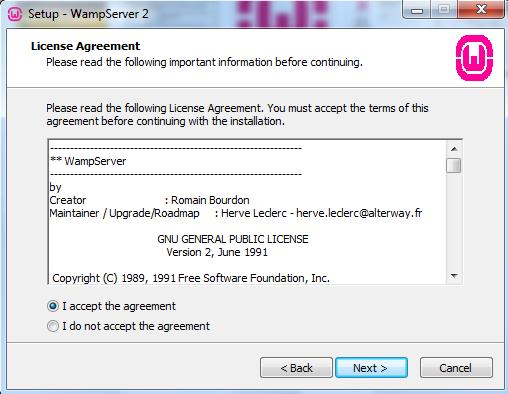 Curso de PHP - WAMP - Acordo de Licença