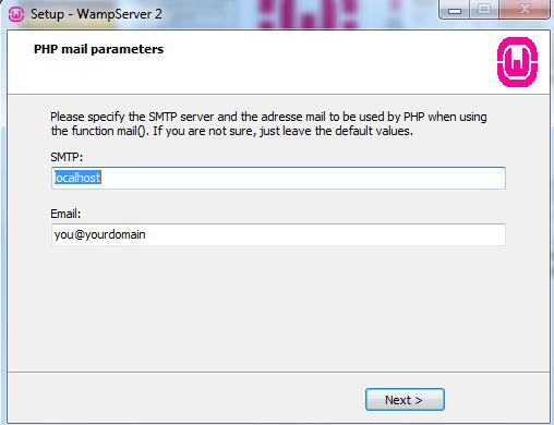 Curso de PHP - WAMP - Parâmetros de email