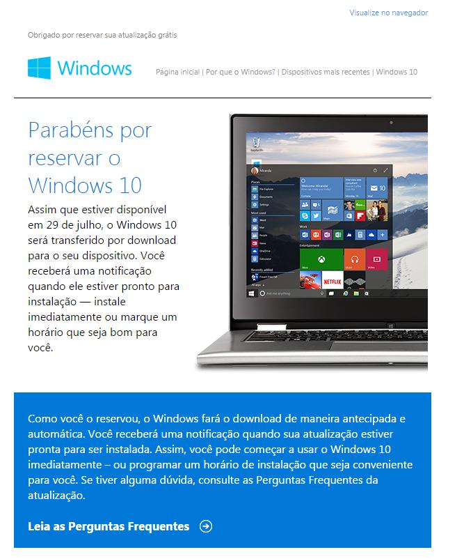Email de confirmação da atualização do Windows 10