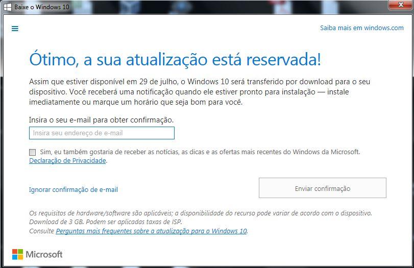 Atualização Windows 10 Reservada via script do dropbox