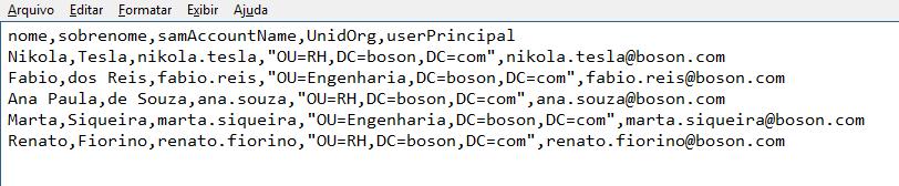 Windows PowerShell - Arquivo csv - usuários ADDS