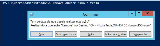 Windows PowerShell Remover usuários do ADDS