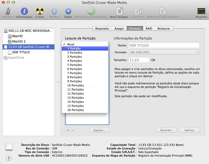 Nova partição em pendrive Mac OS X Yosemite