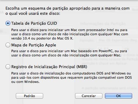 Tabela de partição GUID no Mac OS X Yosemite