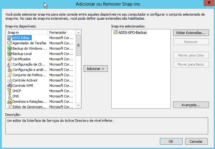 Adicionar e remover snap-in no MMC do Windows Server 2012