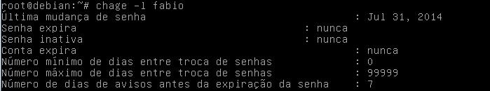 Comando chage no Linux