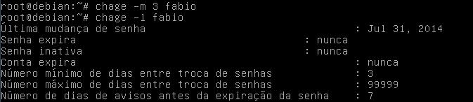 como usar o comando chage no linux