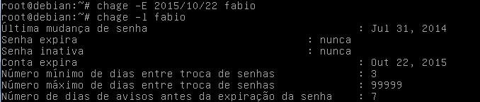 como alterar propriedades de senhas com chage no Linux