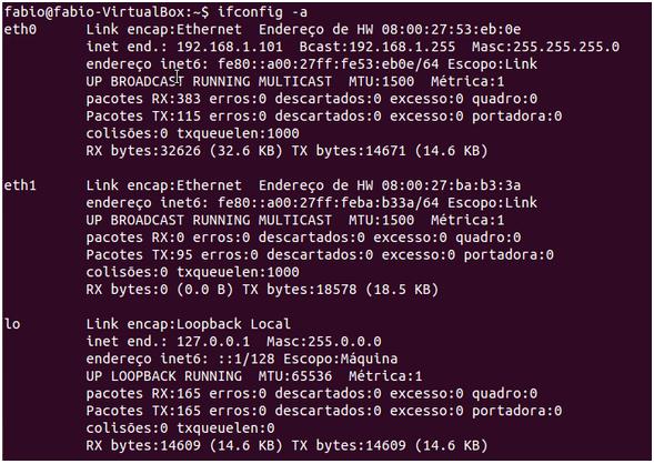 Comando ifconfig no Linux - Rede